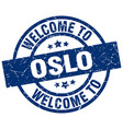 welcome to oslo blue stamp vector image vector image