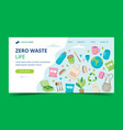zero waste landing page with ecological elements vector image vector image