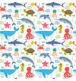 seamless pattern with cartoon sea life animals vector image