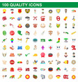 100 quality icons set cartoon style vector image vector image