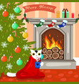 a cat fireplace and christmas tree vector image