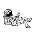 astronaut or spaceman soaring with guitar vector image vector image