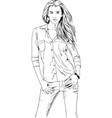 beautiful slender girl drawn in ink hand vector image
