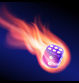 blue dice in fire vector image vector image