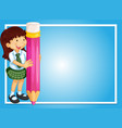 border template with girl and pink pencil vector image vector image