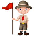 Cartoon boy scout holding red flag vector image
