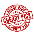 cherry pick red grunge stamp vector image vector image