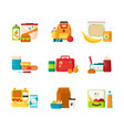 collection of lunch boxes for kids isolated on vector image