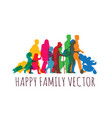 color happy family people travel silhouette vector image