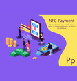 concept nfc payment pos terminals with phone vector image vector image