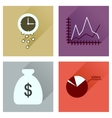 Concept of flat icons with long shadow economy vector image vector image
