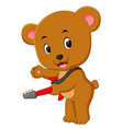 cute bear playing guitar vector image