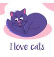 cute pet cat is lying on a doormat on floor i vector image