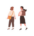 female teenage friends wearing school uniform vector image vector image