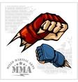 Fist punch - MMA mixed martial arts emblem badges vector image vector image