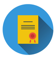 Flat design icon of Diploma in ui colors vector image