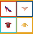 flat icon clothes set of t-shirt banyan lingerie vector image vector image