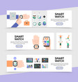 flat smart watch horizontal banners vector image