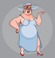 funny fat woman walking in a dress and hat vector image