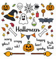 Halloween set of things and words isolated doodle