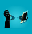hand handcuffed with a smartphone vector image vector image