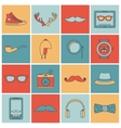 Hipster icons set flat line vector image vector image