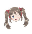 isolated head of an anime character girl vector image