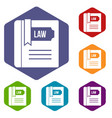 law book icons set vector image vector image