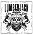 lumberjack emblem or t-shirt print with skull vector image