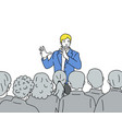 Man speaks to audience hand drawn