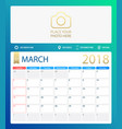 march 2018 calendar or desk vector image vector image