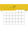 march 2019 wall calendar doodle style vector image