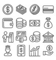 money icons set on white background line style vector image