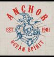 old vintage anchor ribbon hemp rope black vector image