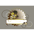 Oval frame with wavy edges decorated with flowers vector image vector image