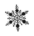 painted cute snowflake silhouette symbol of vector image vector image