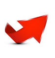 red 3d up arrow icon isolated on white background vector image vector image