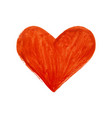 red hand drawn heart on white background vector image vector image
