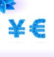Sans serif font with blue leaf decoration vector image vector image