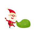 santa claus with bag cartoon vector image vector image
