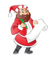 santa claus with wish list vector image