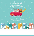 santa flying sleigh car over winter town vector image