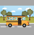 school bus education vehicle with students vector image vector image