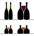 Set of alcohol bottles and glasses vector image vector image