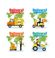 set of delivery service cards vector image