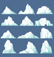 set of isolated iceberg or drifting arctic glacier vector image vector image