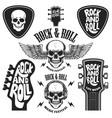 set rock and roll emblems design element vector image vector image