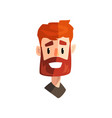 smiling redhead bearded man male emotional face vector image vector image