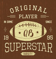 t-shirt design football quarterback superstar vector image vector image