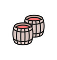 two wine barrels flat color line icon vector image